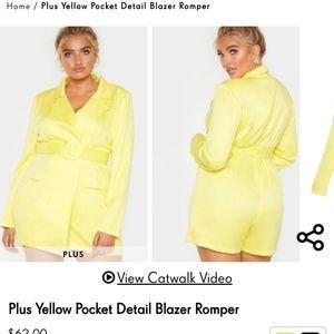 Plus Yellow Pocket Blazer Romper